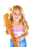Little girl playing guitar. Little girl playing electric guitar isolated on white stock photos