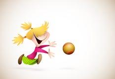 Little Girl PLaying Handball Royalty Free Stock Photography