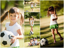 Little girl playing with her brother in soccer Stock Image