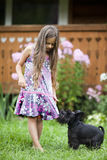 Little girl playing with her dog Stock Image