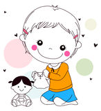 Little girl playing with her doll. Illustration of a cute little girl playing with her doll Stock Photo