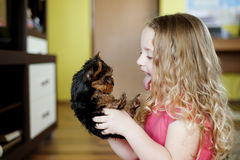 Little girl and puppy. Little girl is playing with her puppy at home Stock Photo