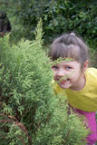 Little girl playing in hide-and-seek. In the garden Royalty Free Stock Images