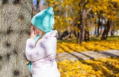 Little girl playing hide and seek near tree in Stock Images