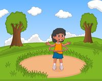 Little girl playing hula hop at the park cartoon Stock Photos