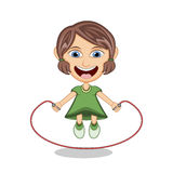 Little girl playing jump rope cartoon vector illustration Stock Image
