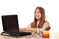 Little girl playing laptop at home Stock Photography
