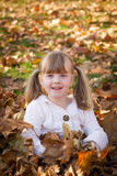 LIttle girl playing in leaf pile leaves Stock Image