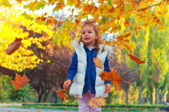 Little girl playing with leaves Royalty Free Stock Photography