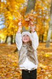 Little girl playing with leaves. Royalty Free Stock Photos