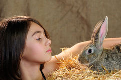Little girl and rabbit Stock Photo