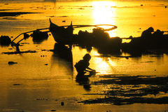 Little Girl Playing at Low Tide in Fisherman Village - Bohol Royalty Free Stock Images