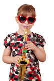 Little girl playing music Stock Photos
