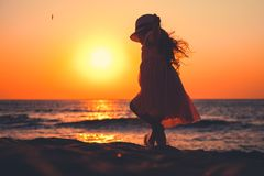 Free Little Girl Playing On The Beach Royalty Free Stock Photography - 164626647