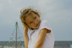 Little girl playing outdoor Royalty Free Stock Image