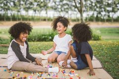 Kids and friend happy. stock photos