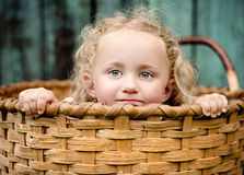 Little girl in the basket. Little girl is playing outside and hiding in the wooden basket Royalty Free Stock Image