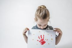 Little Girl Playing With Paint Stock Photos