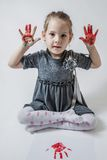Little Girl Playing With Paint Royalty Free Stock Photos