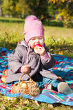 The little girl playing park Royalty Free Stock Images