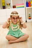 Little girl playing popcorn princess Stock Photo