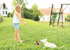 Little girl playing a puppy. Little girl in blue t-shirt, blue shorts and bare feet playing with a white puppy on green meadow of kids playground Stock Images