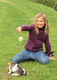Little girl playing with a puppy. Kneeing little girl in violet pullover and blue pants playing with a brown and white puppy Stock Images