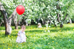 Little girl playing with red balloon in apple garen Royalty Free Stock Photo