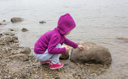 Little girl playing with rocks. Little girl playing on the beach near water Royalty Free Stock Images