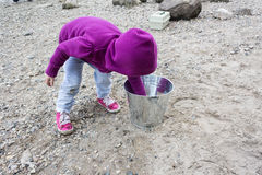 Little girl playing with rocks. Little girl playing on the beach with a silver pail Stock Image