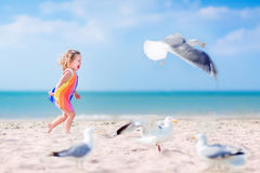 Little girl playing with seagulls Stock Photos