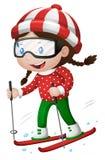 Little girl playing ski. Illustration Royalty Free Stock Photography