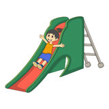 Little girl playing on a slide cartoon Stock Photography