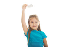 Little girl playing small plane Royalty Free Stock Images