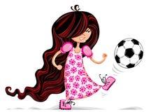 Little girl playing soccer. Stock Photo