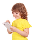 Little girl playing with tablet Stock Photos
