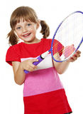 Little girl playing tennis Royalty Free Stock Photos