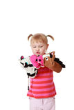 Little girl playing theater Royalty Free Stock Photo