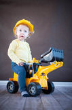 Little Girl Playing with Toy Truck Royalty Free Stock Images