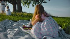 Little girl is playing with toy utensils and stuffed toys in the meadow stock video footage