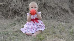 Little girl playing with toys on the grass stock video footage