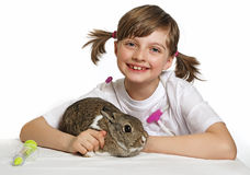 Little girl playing at the vet Stock Photo