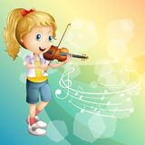 Little girl playing violin. Illustration Royalty Free Stock Images