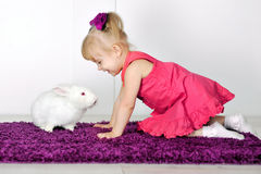 Little girl playing with white rabbit Royalty Free Stock Images