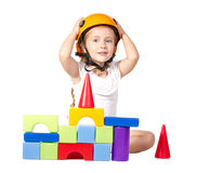 Little girl   playing wiht blocks Stock Image