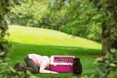 Little girl plays with carrier for dog outdoor. Little girl put her head into the carrier for dog on the meadow at summer day stock photography