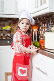 Little girl plays the cook Royalty Free Stock Image