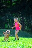 Little girl plays with her German shepherd dog in the meadow.  royalty free stock images