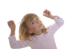Little girl plays with his hair Stock Image