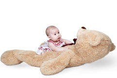 Little girl plays a huge teddy bear Stock Images
